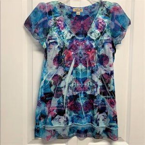 One World Blouse Size XS Floral Print